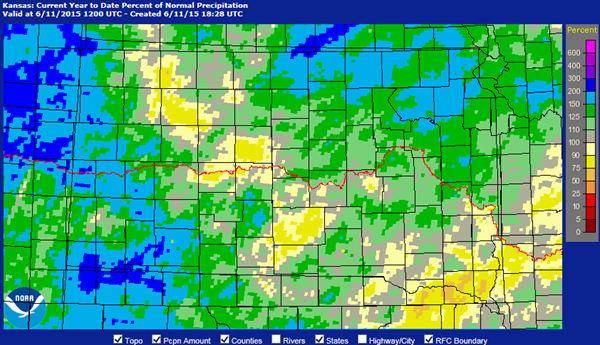 Kansas Precipitation Map
