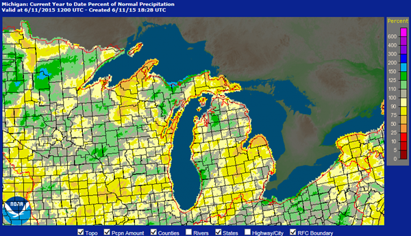Michigan Precipitation Map