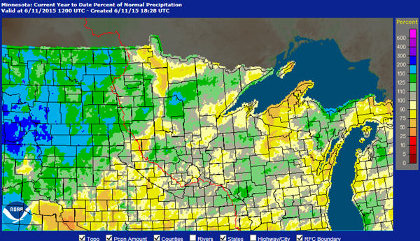 Minnesota Precipitation map