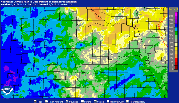 Nebraska Precipitation Map