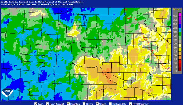 South Dakota Precipitation Map