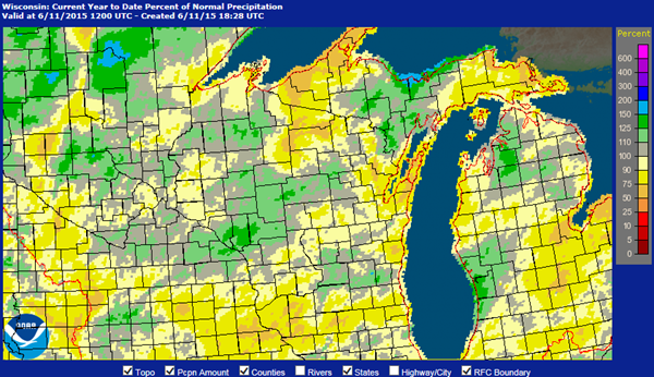 Wisconsin Precipitation Map