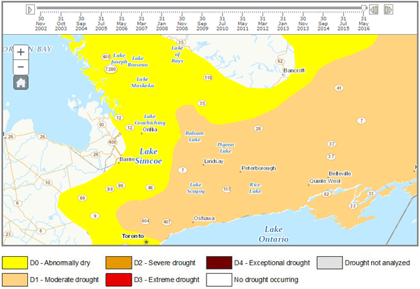 2016 Central Ontario Drought Intensity Map
