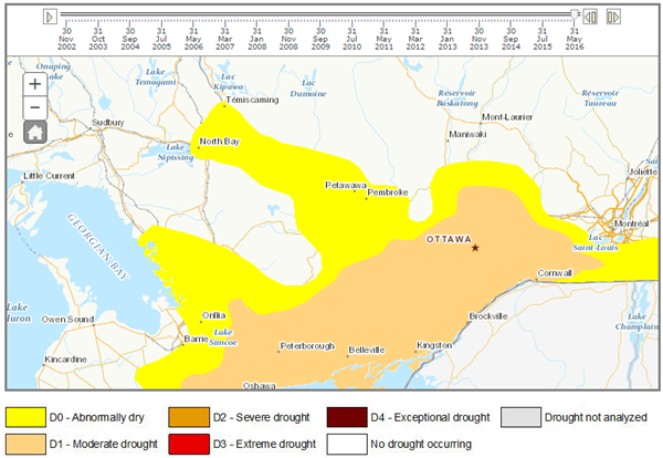 2016 Eastern Ontario Drought Intensity Map