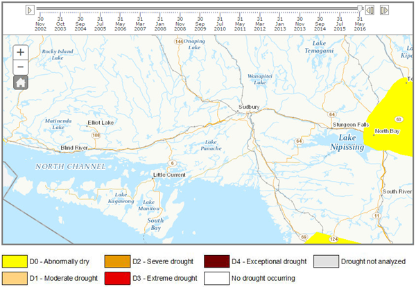 2016 Northern Ontario Drought Intensity Map