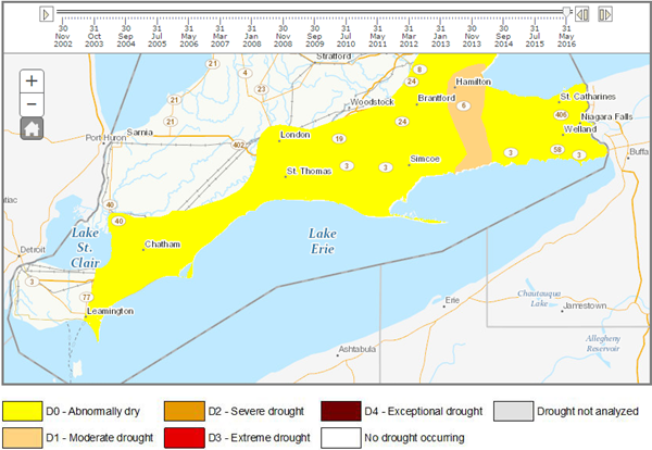 2016 Southern Ontario Drought Intensity Map