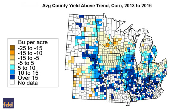 Avg County Yield Above Trend, Corn, 2013 to 2016