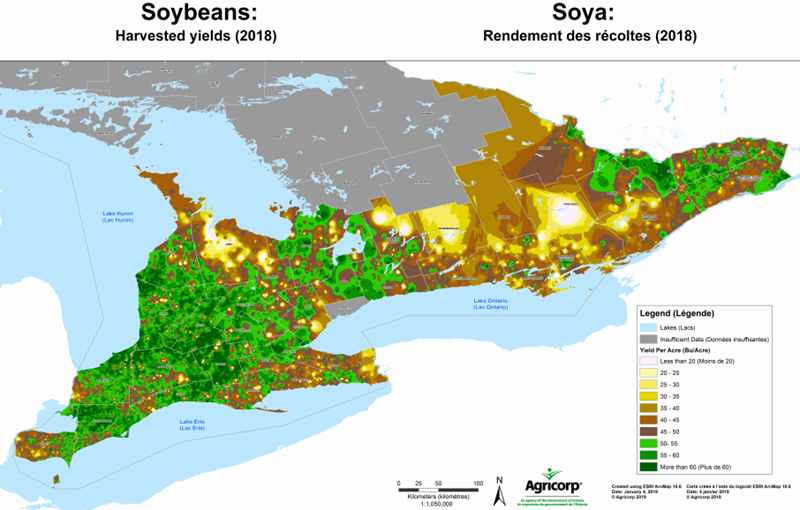 Agricorp Harvested Soybean Yields 2018 Ontario