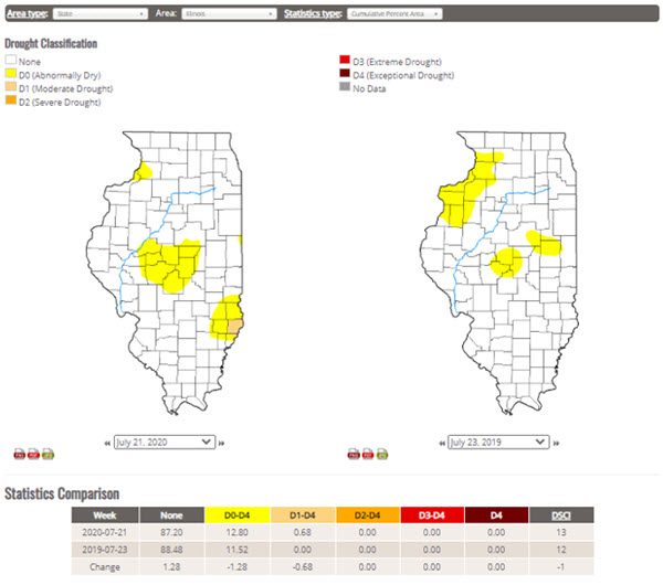 illinois drought map
