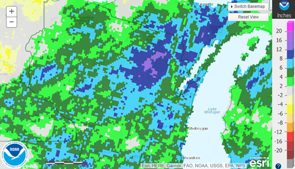 Year to date Precipitation map - Wisconsin